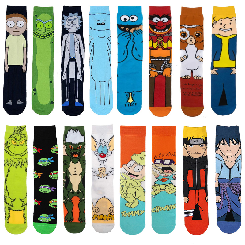 Anime Cartoon Cucumber Long Socks Colorful Movie Cosplay Fashion Sock Novelty Funny Casual Men Socks