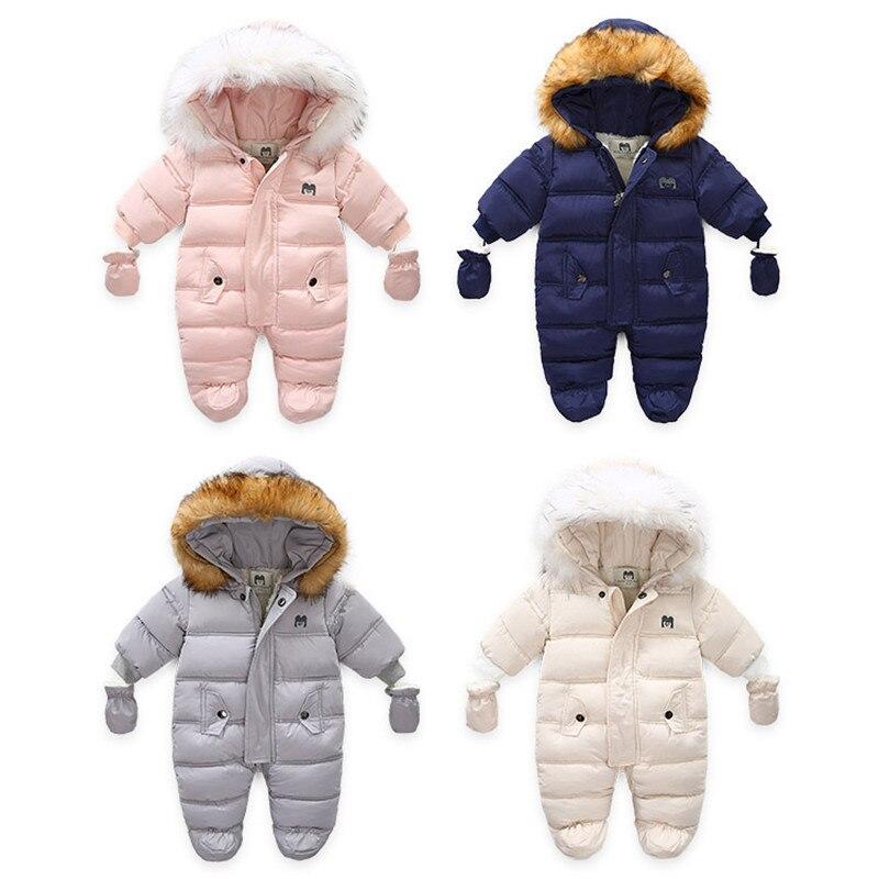 Infant Baby Jumpsuit Thick Warm Hooded Inside Fleece Boy Girl Winter Autumn Overalls Children Outerwear Kids Snowsuit
