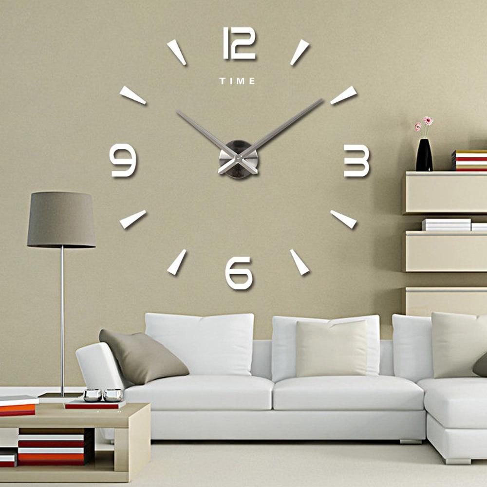 Large Wall Clock Quartz 3D DIY Big Decorative Kitchen Clocks Acrylic Mirror Stickers Oversize Wall Clock Home Letter Home Decor(China)