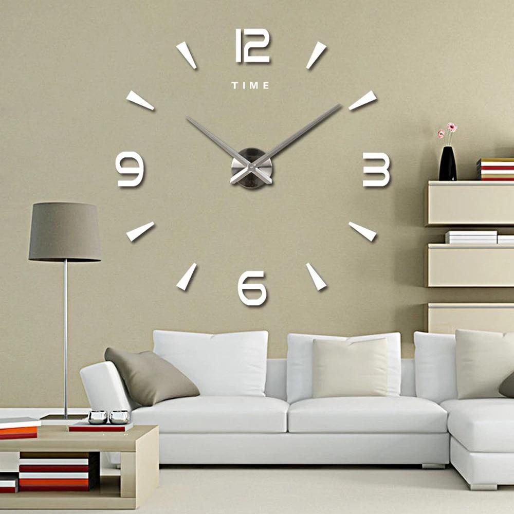 Large Wall Clock Quartz 3d Diy Big Decorative Kitchen Clocks Acrylic Mirror Stickers Oversize Wall Clock Home Letter Home Decor Wall Clocks Aliexpress