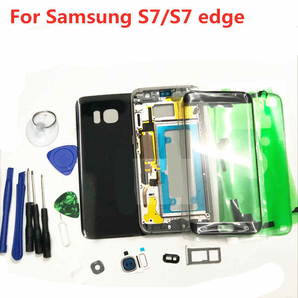 Volledige Behuizing Case Back Cover + Front Screen Glas Lens + Midden Frame Voor Samsung Galaxy S7 Rand G930F G930 g935 Compleet Onderdelen