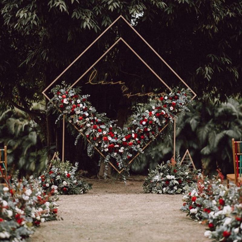 Novo casamento de ferro forjado quadrado arco quadrilátero prateleira geométrica forma diamante casamento palco fundo decorativo flor