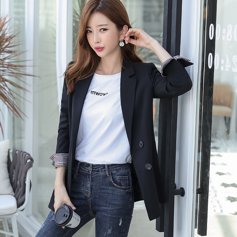 Casual Double-breasted Ladies Black Blazer 2019 New Stylish Plaid Sleeved Children's Jacket Large Size OL Loose Interview Suit