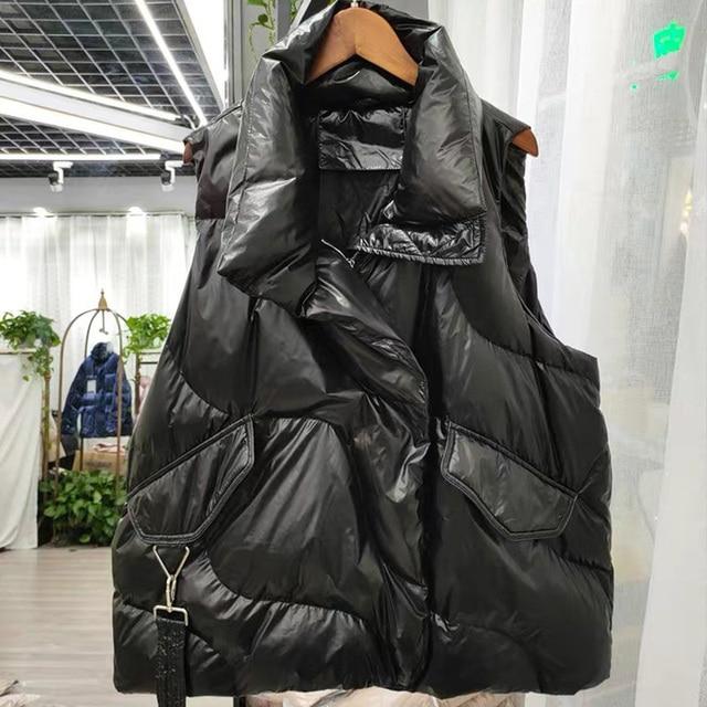 FMFSSOM Loose Causal  90%  White Duck Down Jacket Women Sleeveless Asymmetric Length Beige Spring Autumn Windpoof Basic Outwear 5