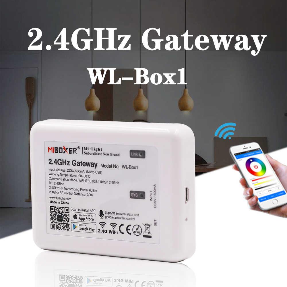 Mi luz rgb + cct controle remoto 2.4g sem fio 4-zone rf toque remoto wifi miboxer WL-Box1 para rgb/rgbw/cct tira conduzida