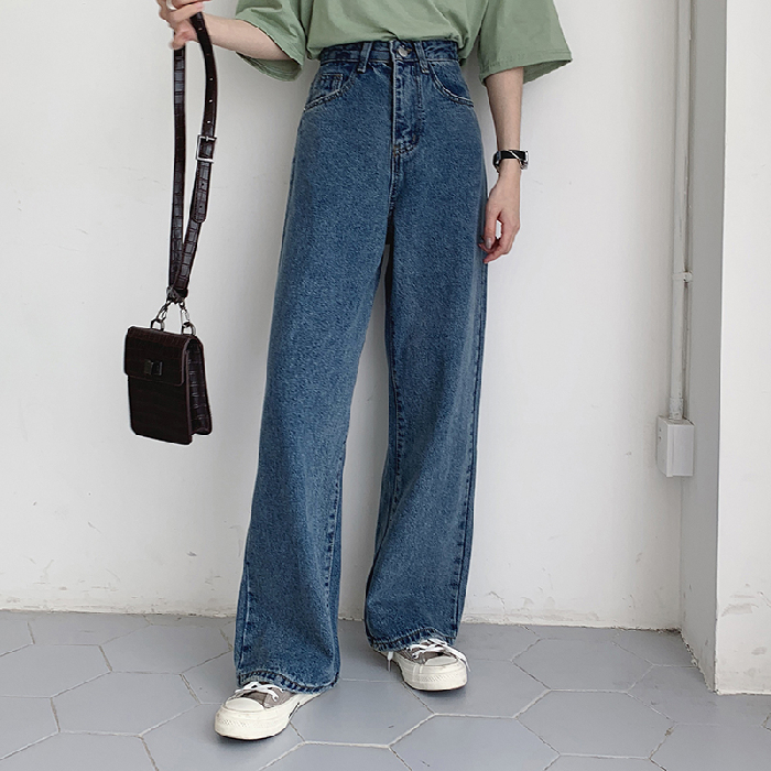 HED Casual High Waist Loose Women Denim Jeans Streetwear Vintage Long Wide Leg Jeans Pants Female Trousers Capris 2020