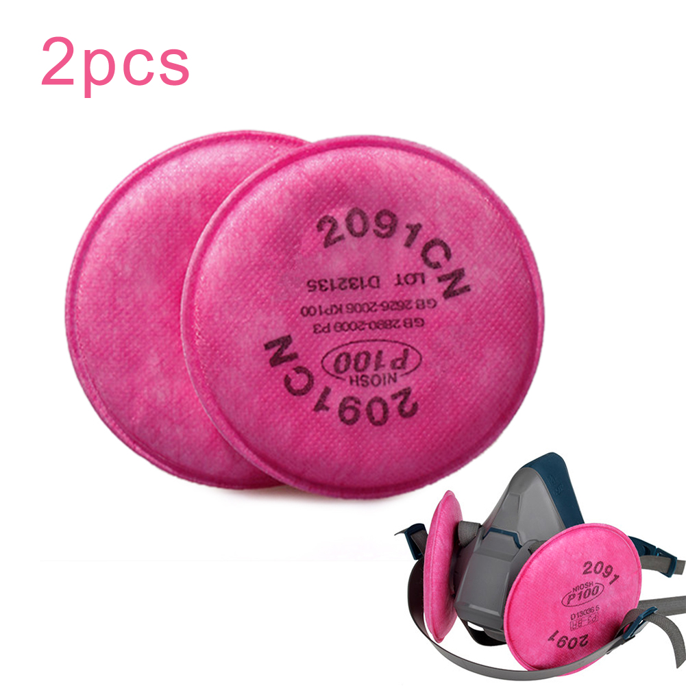 2 Pcs Harmful Substance Non-Oil Particles Filters For 2091 P100 Series Respirator Dust Mask Replacement Accessories