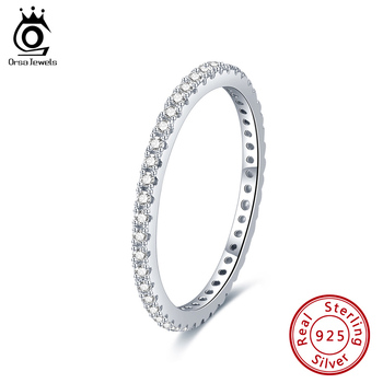 ORSA JEWELS Sterling Silver Enternity Ring Women Real 925 Silver Stackable Propose Marriage Ring Fine Jewelry for Girl SR224 orsa jewels real 925 sterling silver women rings aaa cubic zircon fashion wedding ring jewelry round finger ring for ladies sr71
