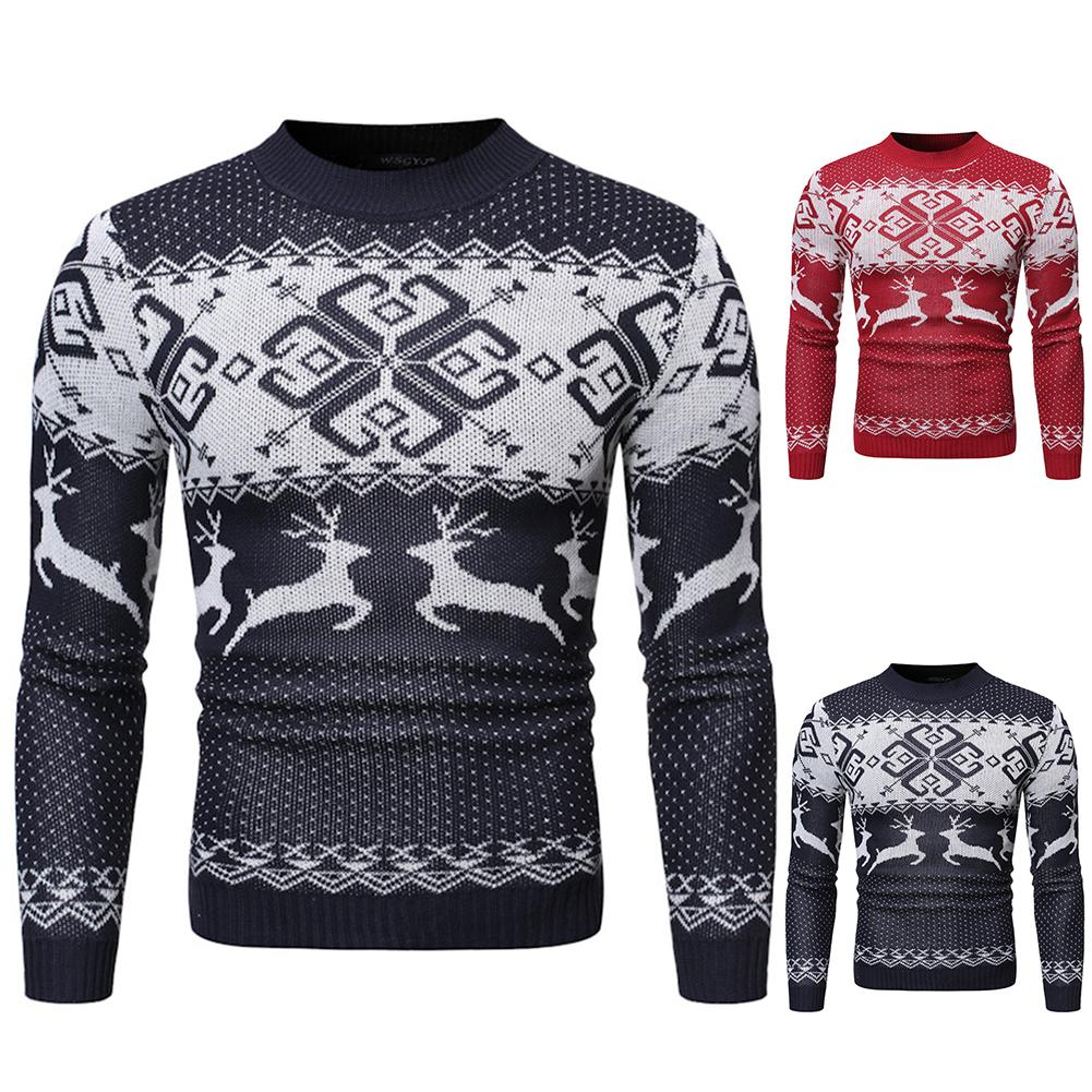 20220 Xmas Chic Men Elk Print O Neck Long Sleeve Pullover Slim And Fit Sweater Blouse Top