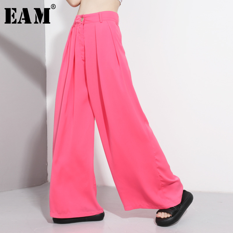 [EAM] High Waist Brief Green Long Pleated Wide Leg Trousers New Loose Fit Pants Women Fashion Tide Spring Summer 2020 1U0560