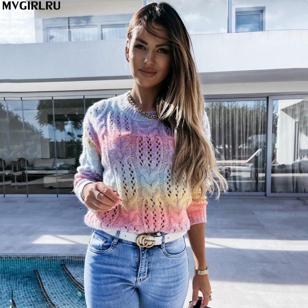 Женский вязаный свитер MVGIRLRU, Свободный пуловер радужной расцветки с круглым вырезом и длинными рукавами, уличная одежда ярких цветов