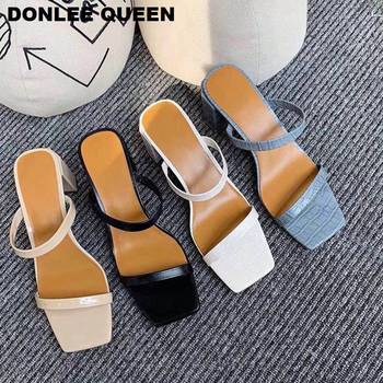 Women High Heels Sandals 2020 Fashion Square Toe Slippers Women Slip On Slides Narrow Band Summer Shoes Outdoor Flip Flops mujer women slippers block high heels belt buckle slippers summer slides platform sandals women shoes slip on flip flops dropshipping