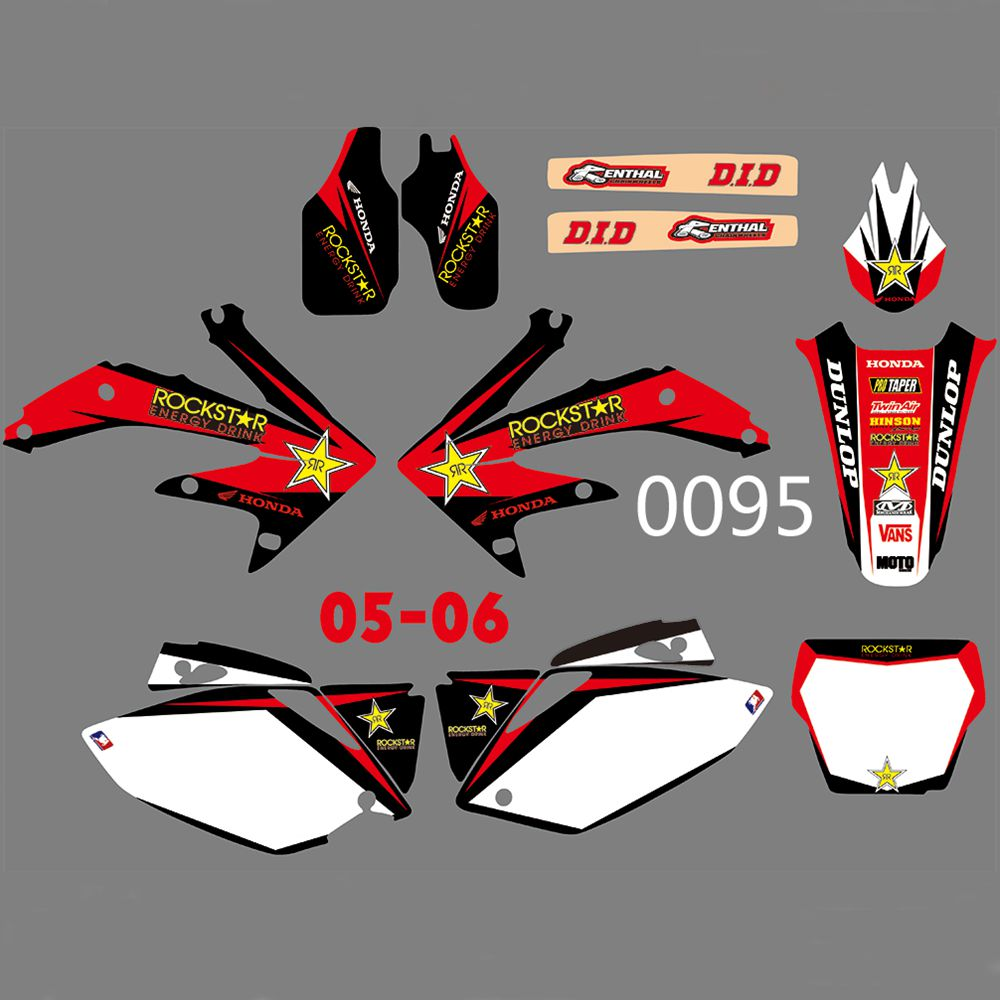 For HONDA CRF450R CRF450 2005-2006 New Full Graphics Decals Stickers Custom Number Name Glossy Bright Stickers Waterproof