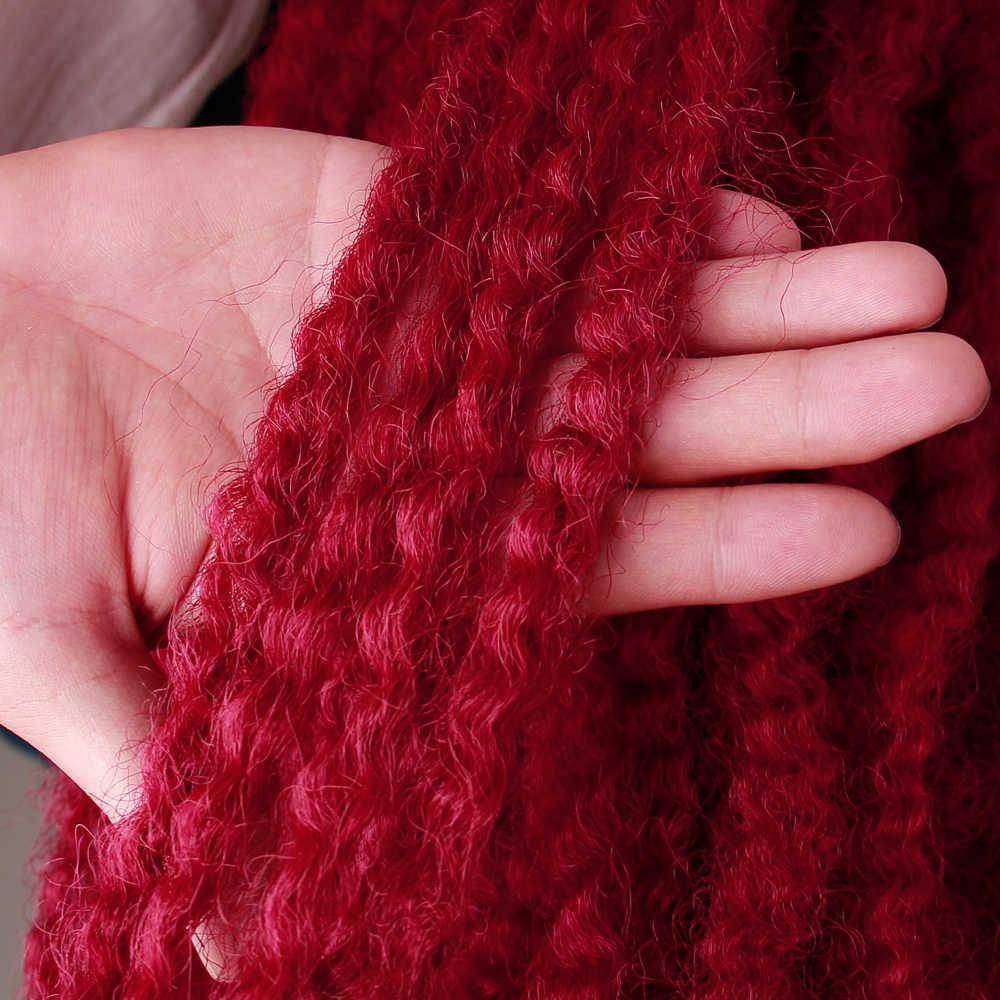 18 Polegada marley tranças torção crochê trança cabelo borgonha sintético afro kinky curly marley tranças extensões de cabelo