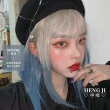 Ön satış Uwowo kirli mavi peruk Lolita peruk mavi kuyrukları düz Cosplay peruk isıya dayanıklı sentetik saç Anime parti peruk