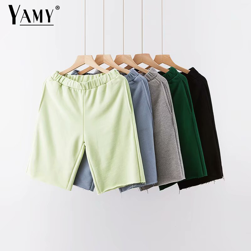 Korean Loose Shorts With Pocket Women High Waist Shorts Vintage Boy Shorts For Women Biker Shorts Cotton Short Feminino Summer