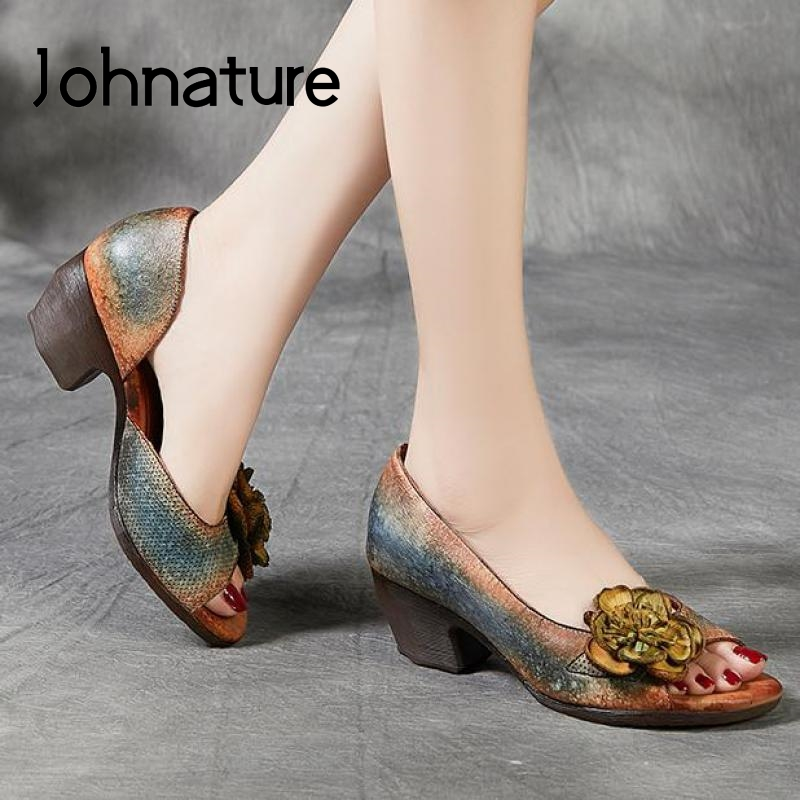 Johnature Retro High Heels Sandals Women Shoes Genuine Leather 2020 New Spring Mixed Colors Casual Platform Ladies Sandals