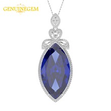 GENUINEGEM Luxury 925 Sterling Silver Big Ruby Sapphire Gemstone Pendant Necklaces Fashion India Jewelry Necklace Gift for Women(China)