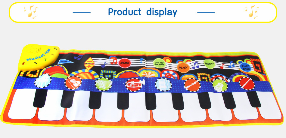 Ha0e1ac9d8ced4c1081efe2a83d9217cde 110x36cm Musical Piano Mat Baby Play Mat Toy Musical Instrument Mat Game Carpet Music Toys Educational Toys for Kids Xmas Gift