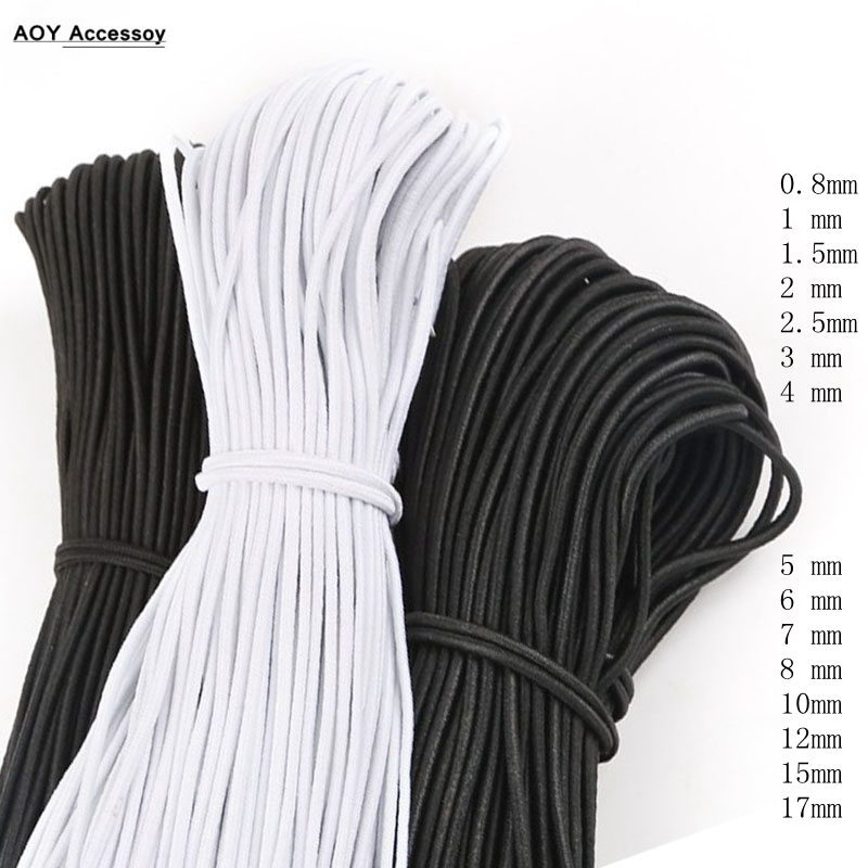 Round Elastic  Band Bungee Shock Cord Black White Strap Stretch Rope For Handmade DIY Craft Jewelry Making Outdoor Project