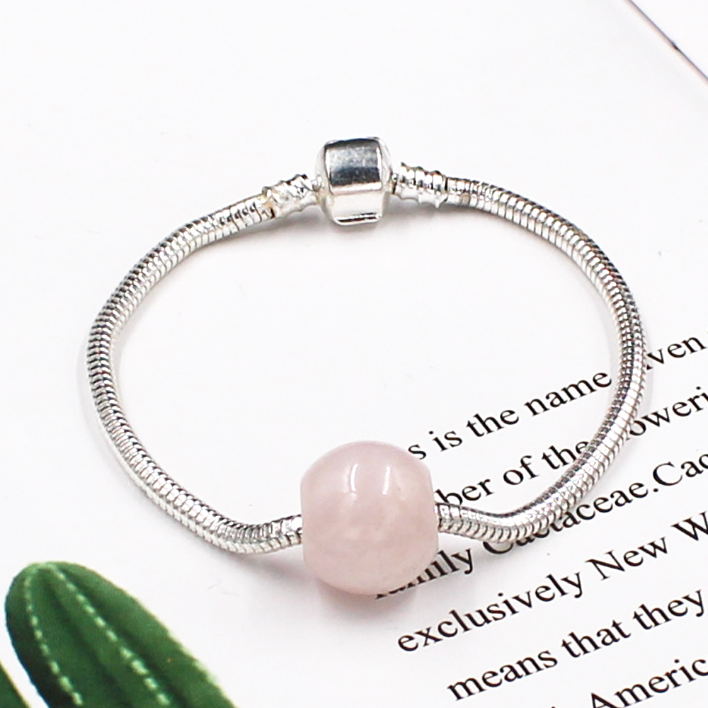 Women <font><b>Bracelet</b></font> with Natural Stone Silver Charms Snake Chain Semi Precious Pink Quartz Bead Luxury <font><b>Pan</b></font> <font><b>Bracelet</b></font> Handmade Jewelry image