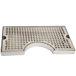 12 inch Surface Mount Kegerator Beer Drip Tray Stainless Steel Tower Cut Out No Drain