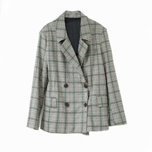 Casual vintage ladies jacket 2019 autumn new double-breasted loose plaid suit female Fashion office blazer high quality