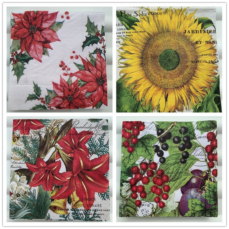 25cm Christmas Vintage Napkin Paper Elegant Tissue Sun Flower Fruit Decoupage Wedding Birthday Party Decor Beautiful Serviettes