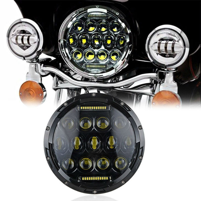 "7"" Inch Motorcycle Headlight 75W LED Headlamp for Kawasaki VN Vulcan 500 750 800 900 1500 1600 Yamaha Mootrycles