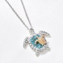 Moda zirkonya mavi Opal deniz kaplumbağası kolye kolye kadınlar için kadın hayvan düğün bildirimi zincir kolye okyanus plaj hediye