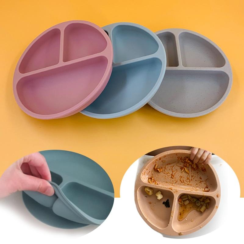 Детские блюда, детская силиконовая миска на присосках, Детская тарелка с улыбкой, набор посуды, Детская тарелка в стиле ретро