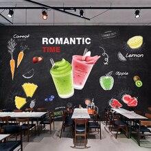 Papel pintado personalizado en 3D, pintado a mano, pizarra, bebida, jugo de frutas, bebidas frías, tienda de murales, pegatinas autoadhesivas de PVC para pared