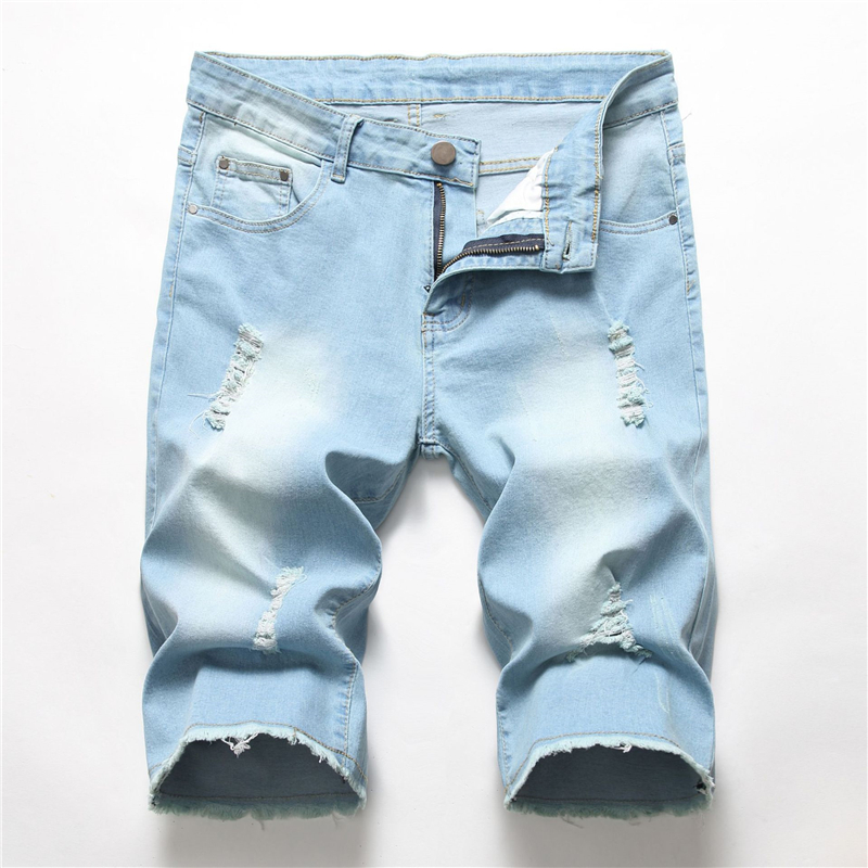 2020 Summer New Men's Light Blue Denim Shorts Fashion Casual Regular Fit Hole Short Jeans Male Brand Blue Black