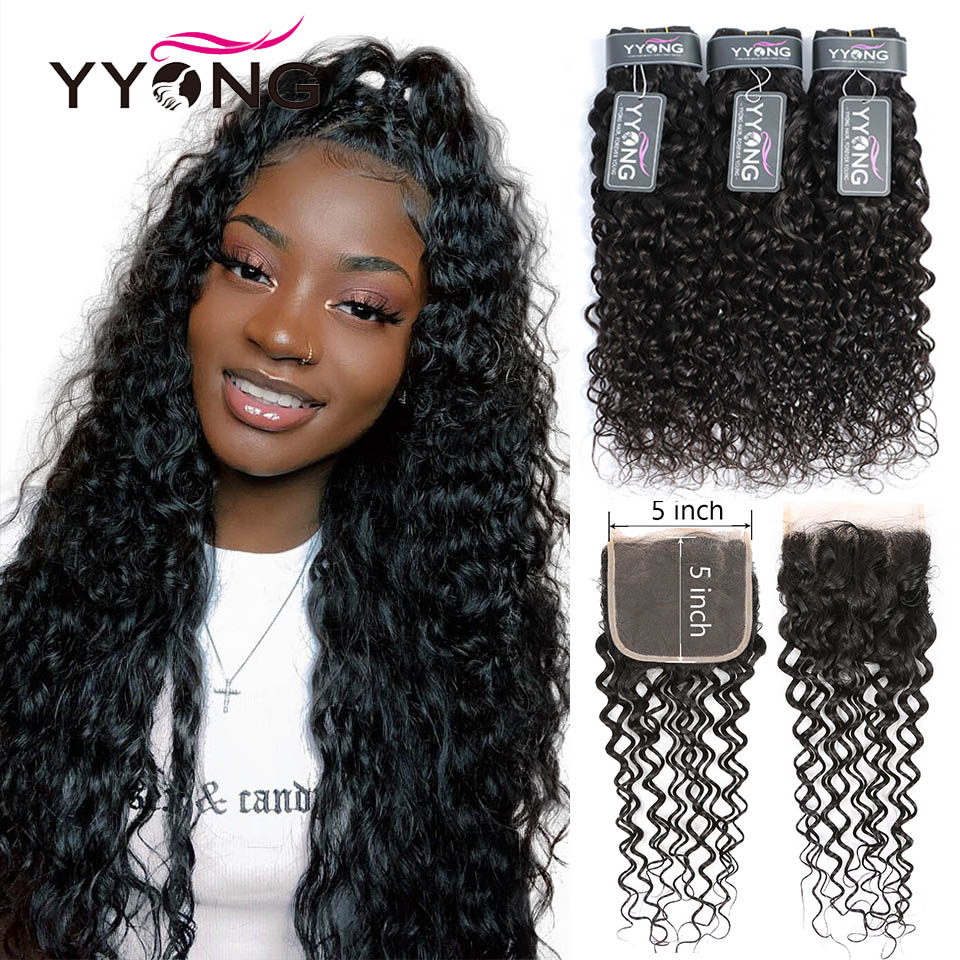 YYong 5X5 Closure With Bundles Water Wave 28 30 inch Brazilian Remy Human Hair Bundles With Closure Pre Plucked Natural Hairline