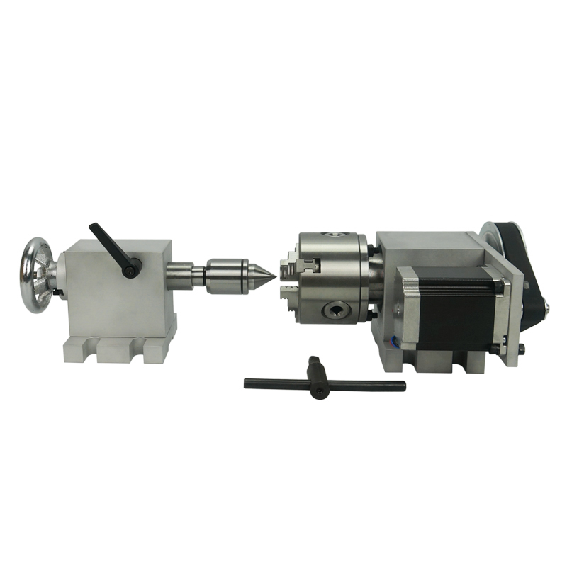 The Most Economic Cnc Rotary Axis With Chuck 80mm And Activity Tailstock For Engraving Machine