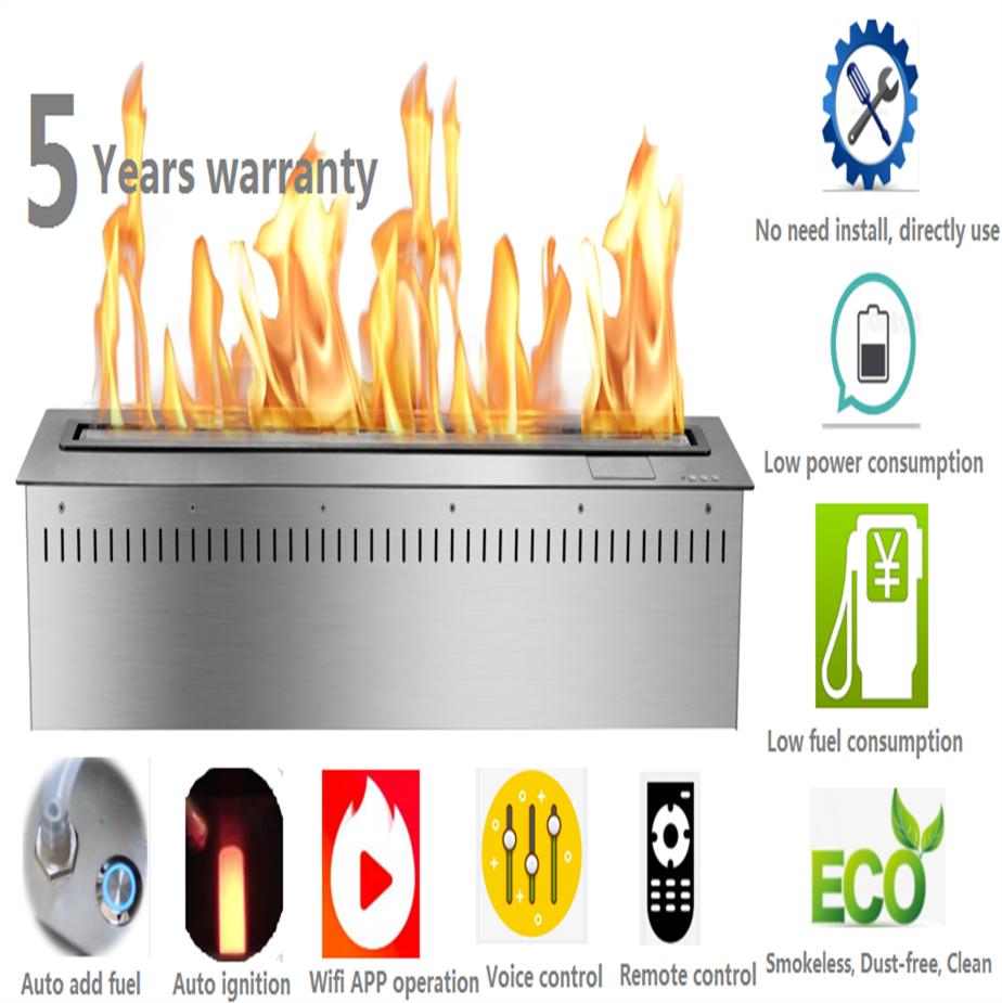 60 Inch Wifi Intelligent Smart Modern Chimenea Quemador Home Decor Ethanol Electric Biokominek