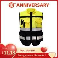 Colete reflexivo alta visibilidade aviso colete de segurança fluorescente roupas multi bolsos ao ar livre segurança tráfego trabalho roupas|Roupas de segurança| |  -