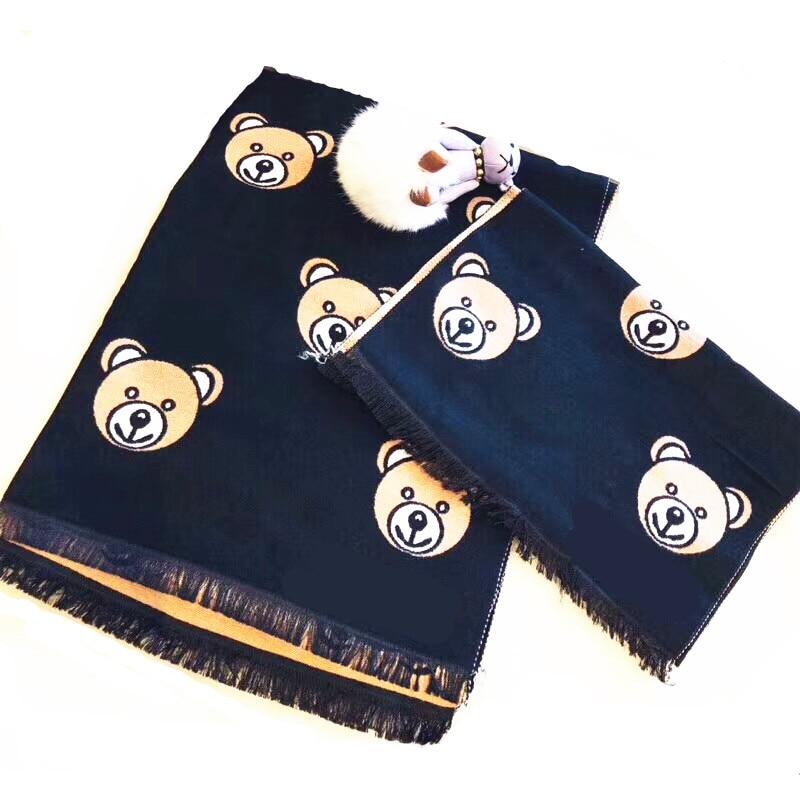 Корейская Клетчатая Шерстяная теплая осенне-зимняя одежда для мальчиков и девочек с рисунком медведя и надписями, шали, шарфы, аксессуары-LHC - Цвет: child