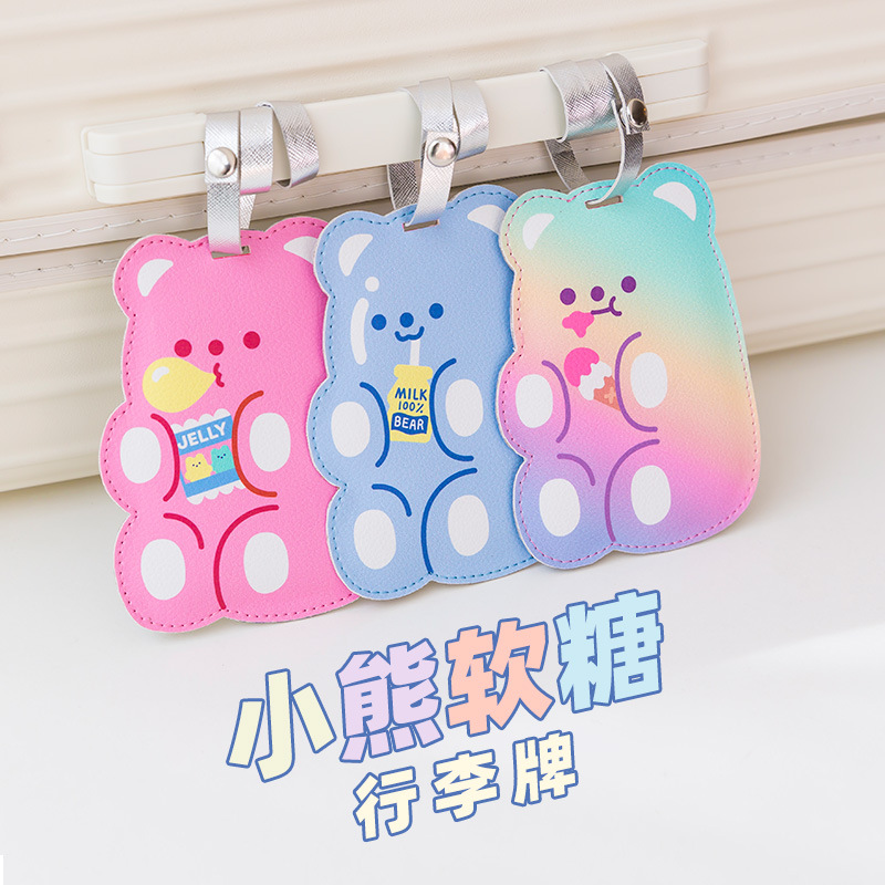 Hologram Bear Travel Luggage Tag Cartoon Leather Label Candy Suitcase Name ID Address Tags Boarding Tags Travel Accessory