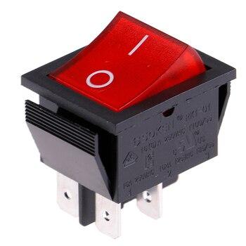 1PC Wippenschalter 4-polig rote beleuchtete Wippe 250 V/16A wyłącznik zasilania przełącznik resetowania