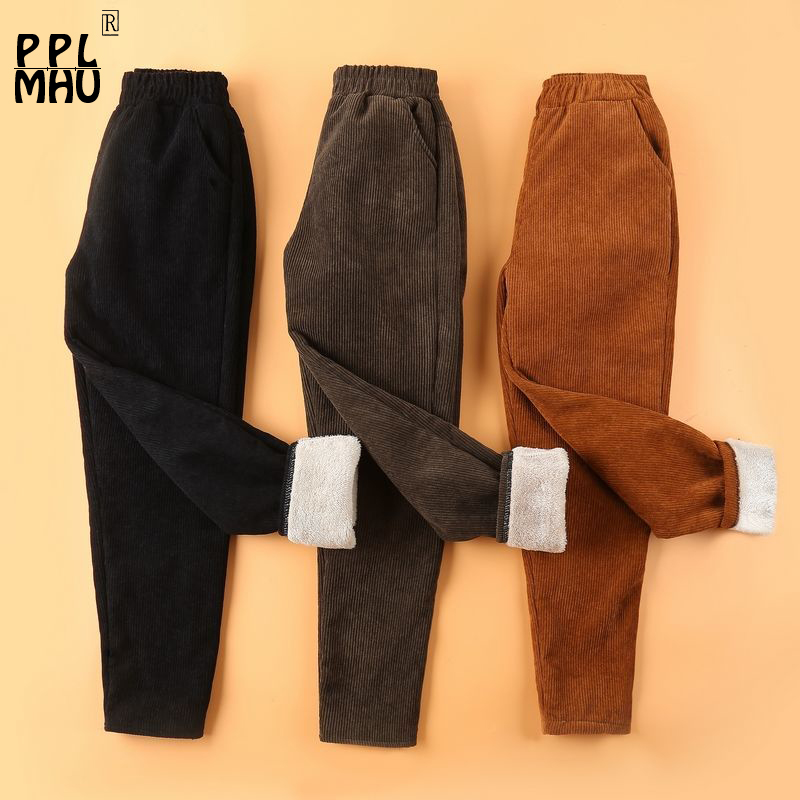 Autumn Winter Corduroy Pants Women Plus Size <font><b>4XL</b></font> Elastic Waist Harem Pants New Casual Corduroy Trousers Women <font><b>Pantalon</b></font> <font><b>Mujer</b></font> image