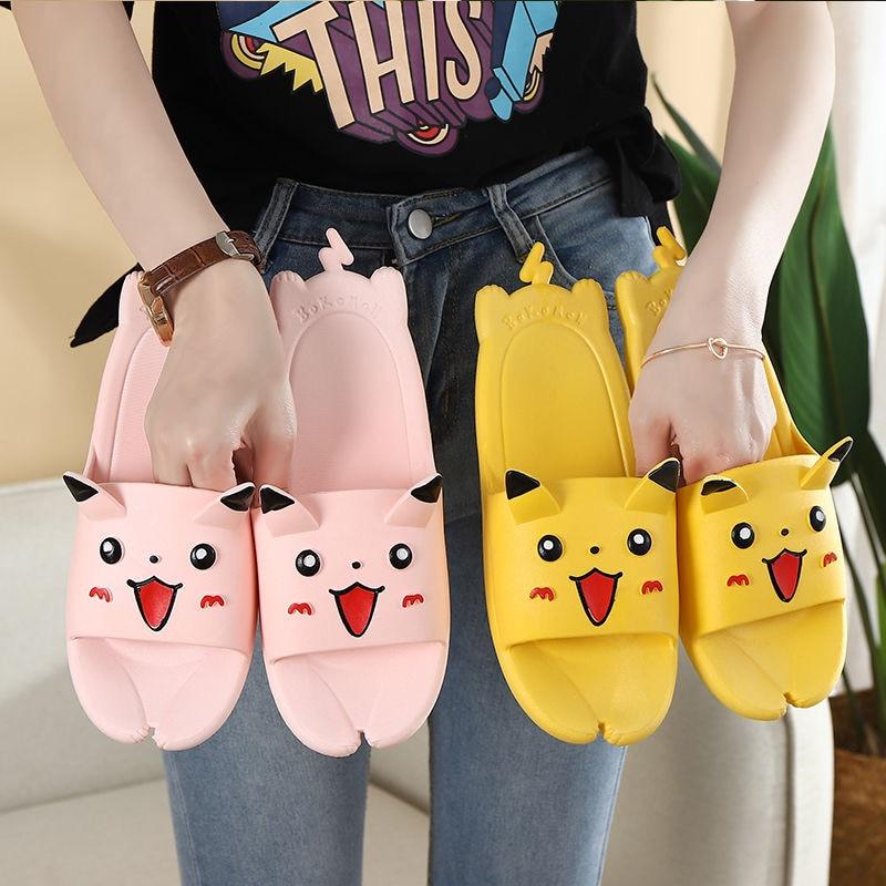 Anime Pikachu Slippers Men Women Kawaii Shoes Summer Adult Child Home Lovers Harajuku Cartoon Girl Slippers