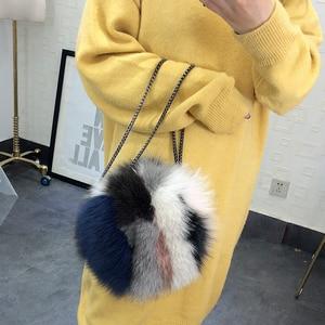 Image 2 - 高級デザイナーの女性のクラッチバッグと財布本物の毛皮の女性のハンドバッグ因果ラウンドメッセンジャーショルダーイブニングバッグ女性ギフト