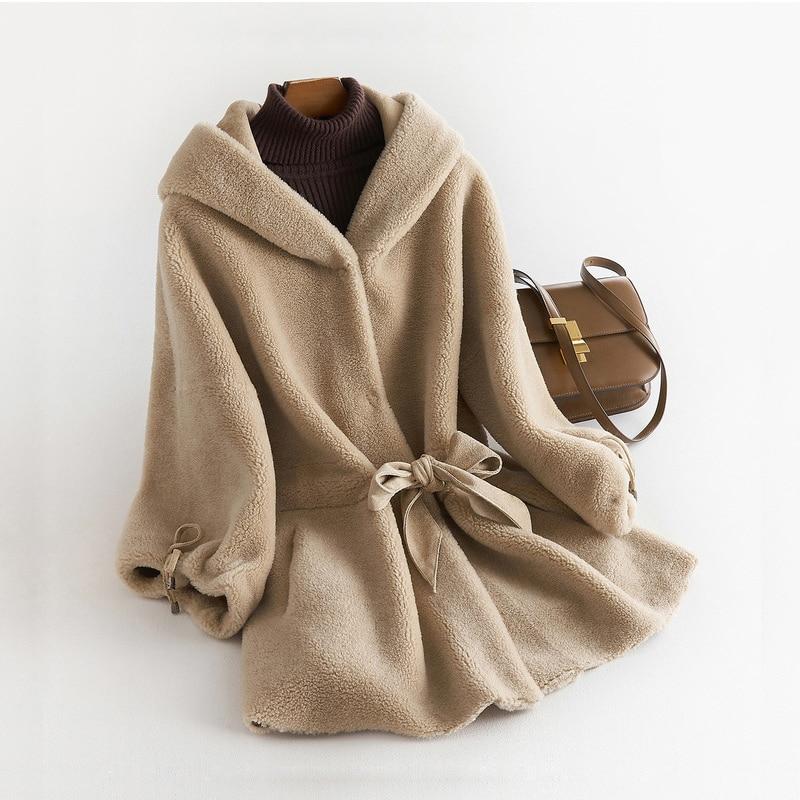 Women Winter Real Fur Overcoat Sheep Lady Casual Warm Natural Sheep Wool Coat