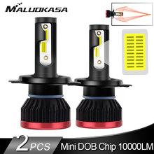 2 adet H7 LED far ampulü DOB 10000LM/ampul 50W Mini H4 LED araba ışıkları H11 H8 HB3 HB4 LED ampuller otomatik lamba sis farları 12v