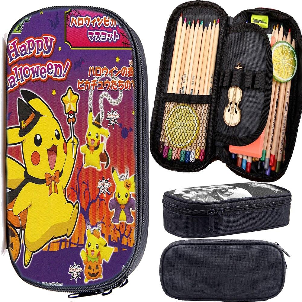 Halloween Pokemon Pencil Case Students Pen Bag Fashion Cartoon Gengar High Quality Cute Multifunction Pikachu Pencil Box Gift