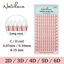 NATUHANA 2D 3D 4D 5D 6D Long Stem False Lashes Premade Russian Volume Fans Faux Mink Premade Fan Eyelash Extensions Makeup Cilio