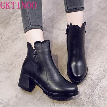 GKTINOO 2019 Women Fashion Vintage Ankle Boots Soft Genuine Leather Shoes Female Winter Ankle Boots Comfortable Women Shoes