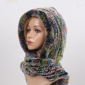 Image 4 - 2020 novas mulheres de inverno real pele chapéu + cachecóis feminino malha natural rex pele de coelho com capuz cachecóis quente malha genuína capas de pele cachecol