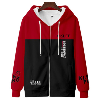 Klee Cosplay Costume Hot Game Genshin Impact Hooded Sweatshirt Anime Sports Jacket Project Print Pants Velvet Top Adult Kids Set 2